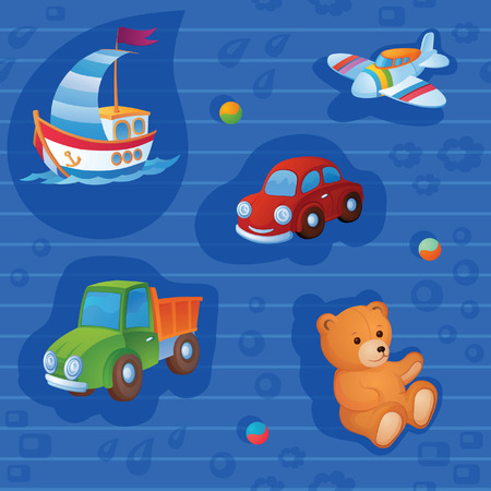 Wherein the background is different toys. And to be precise, it is a toy trucks Vector