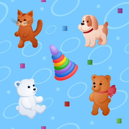 Wherein the background is different toys. Plush small animals and other fun items Vector