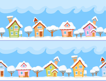 fairyland: Backgrounds of winter streets with fabulous houses and trees