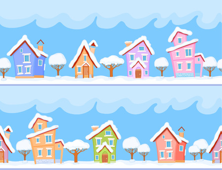 Backgrounds of winter streets with fabulous houses and trees