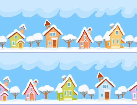 dreamland: Backgrounds of winter streets with fabulous houses and trees