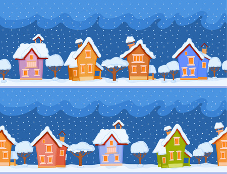 snow falls: Backgrounds of winter streets with fabulous houses and trees. The evening comes and the snow falls Illustration