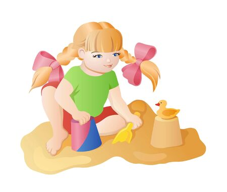 figure out: Little girl with pigtails playing in the sandbox. It builds a figure out of the sand and has a duckling Illustration