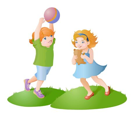 have fun: The kids have fun. Children play with toys. Boy playing with a ball, little girl playing with teddy bear Illustration