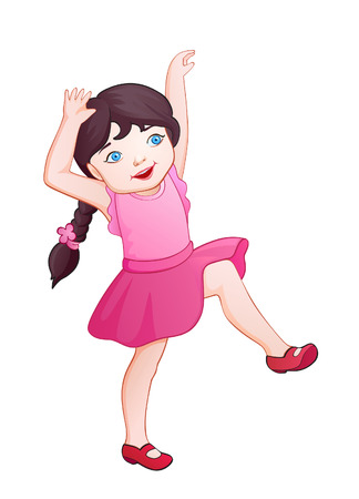 little girl dancing: Little cartoon fashionista wants to immediately start dancing
