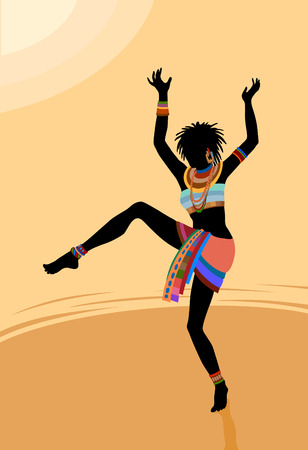 ethnographic: Ethnic dance involves unity with nature. Wild and free in the midst of creating a ritual of life itself Illustration