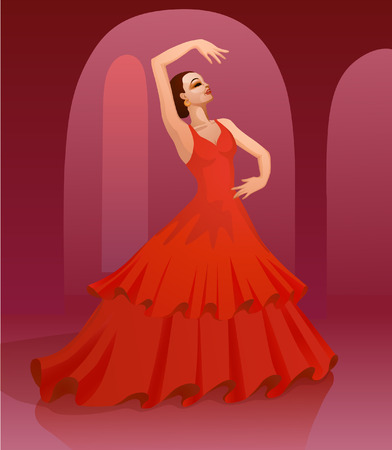 spanish culture: Spanish girl performs a dance full of emotion and passion in traditional dress Illustration