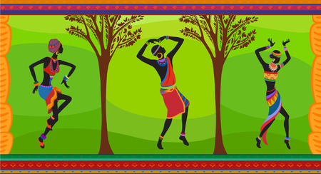 Free dance exotic people. Ritual absorb these people entirely and enters into a trance. Unity with nature and the environment in their lives, reveals their beauty and brings to their lives holiday Illustration