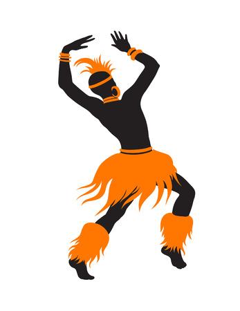 bailarines silueta: Hombres exóticos de danza libre. Ritual absorbe toda la persona y entra en trance. La unidad con la naturaleza y la vida a su alrededor, revela su belleza y trae a su vida un día de fiesta Vectores
