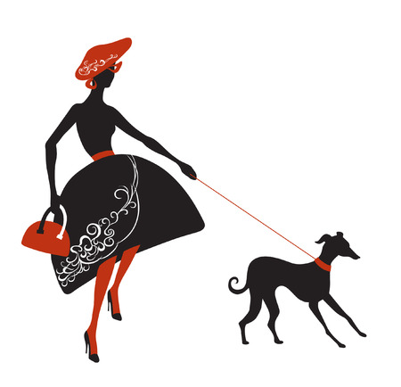 Fashionable lady in dress with patterns tries to keep his dog on a leash