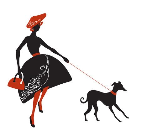 female dog: Se�ora de moda en el vestir con patrones trata de mantener a su perro con una correa Vectores