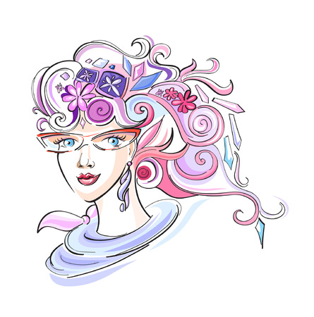 black hair blue eyes: Beautiful fashion girl with abstract varicolored hair and design elements