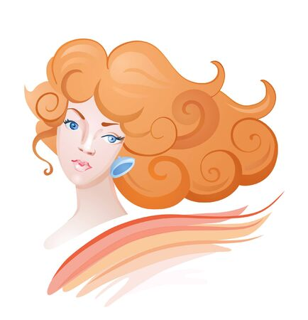 ginger hair: Beautiful fashion women with abstract ginger hair and design elements Illustration