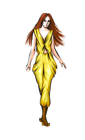 Abstract vector fashion girl. Model showing clothes