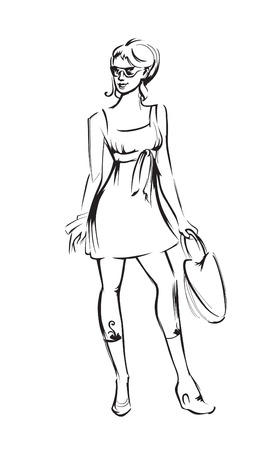 Vector fashion girl with a satchel