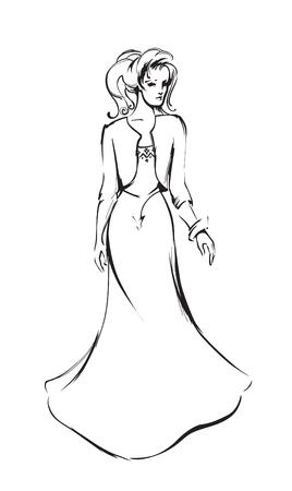 evening dress: Fashionable woman in a romantic evening dress Illustration