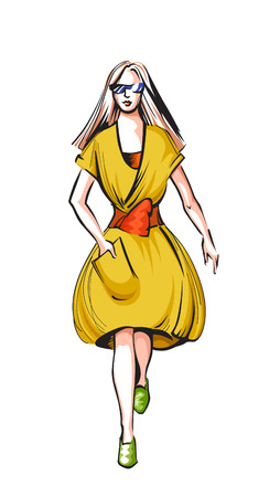 yellow dress: Fashionable vector woman in a yellow dress