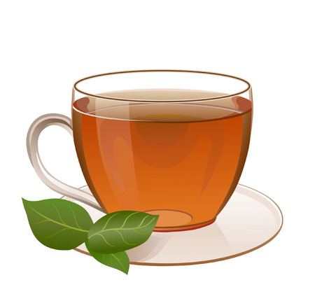 cup and saucer: Golden tea in a transparent cup on a saucer. Near cup saucer decorated with mint leaf Illustration