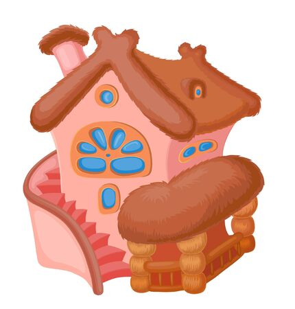 dormer: little fairy house with a reed roof and staircase