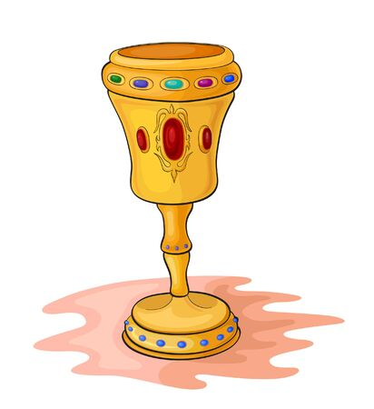 Magic gold cup inlaid with precious stones Vectores