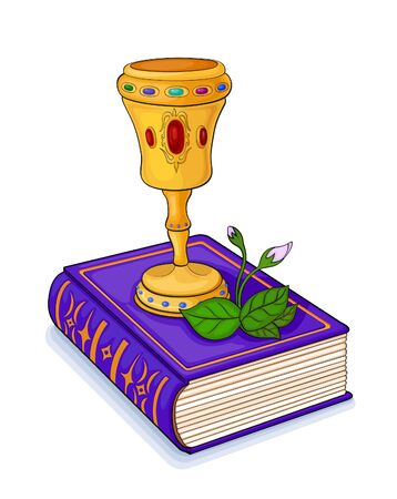 incrustation: Magic gold cup inlaid with precious stones, which stands on the book cover, embossed in gold Illustration