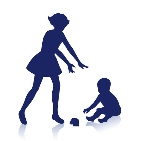 matron: little boy and girl playing together Illustration
