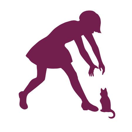 little girl feet: Silhouette of  little girl playing with kitten