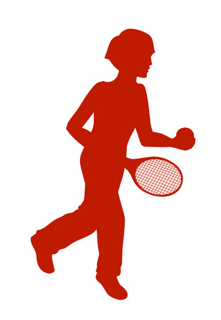 energized: Silhouette of running little boy with a tennis racket