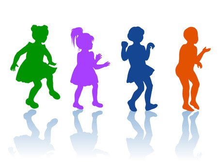 boy and girls dancing and playing together Vector