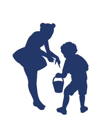 matron: Silhouette of  little boy and girl playing together