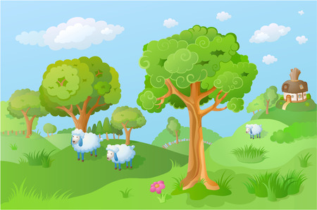Lamb in the cartoon landscape. Fairy house is seen in the distance. Funny cartoon and vector scene