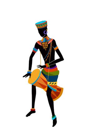 Hombres exóticos de danza libre. Ritual absorbe toda la persona y entra en trance. La unidad con la naturaleza y la vida a su alrededor, revela su belleza y trae a su vida un día de fiesta Ilustración de vector