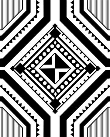 an amulet: Geometric patterns in ethnic style on the basis of square