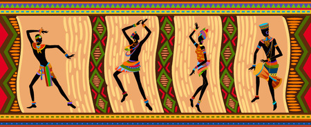 absorb: Free dance exotic people. Ritual absorb these people entirely and enters into a trance. Unity with nature and the environment in their lives, reveals their beauty and brings to their lives holiday Illustration