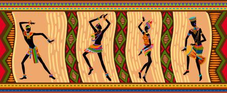 Gente exótica danza libre. Ritual absorber estas personas completamente y entra en trance. La unidad con la naturaleza y el medio ambiente en sus vidas, revela su belleza y aporta a sus vidas vacaciones Vectores