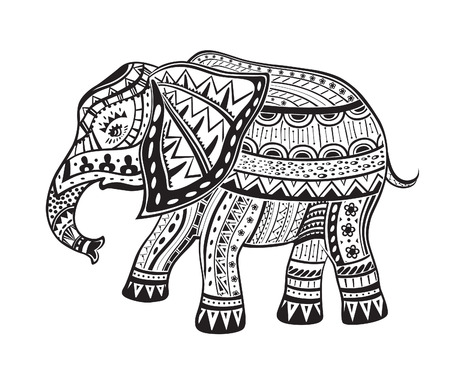 india pattern: The stylized figure of an elephant in the festive patterns Illustration