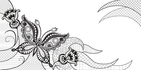 mariposa: Siluetas abstractas de mariposas decorativas. Estas mariposas y las flores son una reminiscencia de encaje, son creados para decorar Vectores
