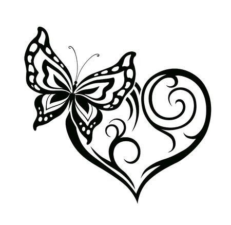 Abstract silhouet van decoratieve vlinder. Het is ontworpen om te versieren. Misschien voor tattoo Stock Illustratie
