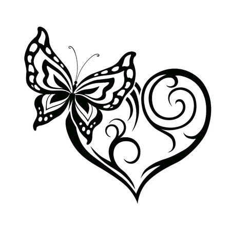 Abstract silhouette of decorative butterfly. It is designed to decorate. Maybe for tattoo Zdjęcie Seryjne - 36510393