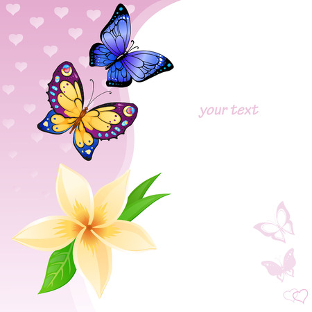 resemble: Flying bright butterflies and flower resemble the summer. Background for beauty and a sense of celebration