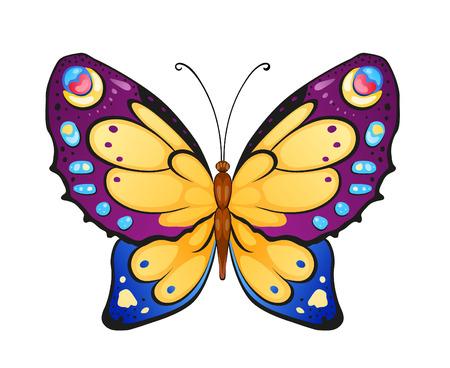 mariposa caricatura: Mariposa brillante para la decoración de diseño Vectores