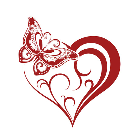 wedding symbol: Abstract silhouette of decorative butterfly. It is designed to decorate. Maybe for tattoo