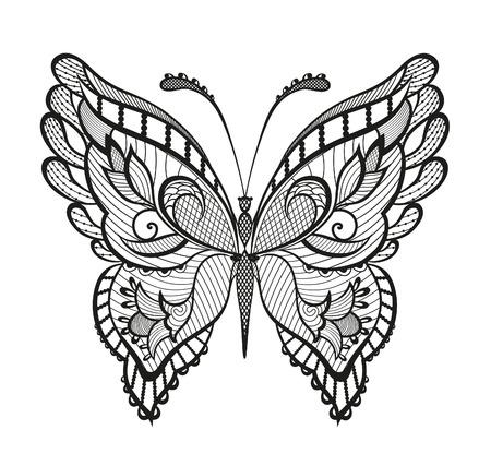 tatuaje mariposa: Mariposa decorativo abstracto.
