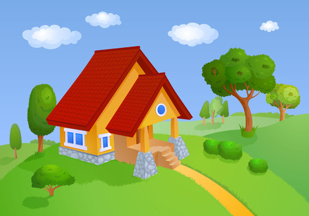 bonny: House with a red roof is located in the hills with trees Stock Photo