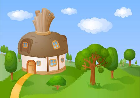 bonny: House with a reed roof is located in the hills with trees