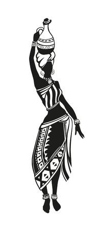 African woman in national costume is a pitcher on her head and dances on the go