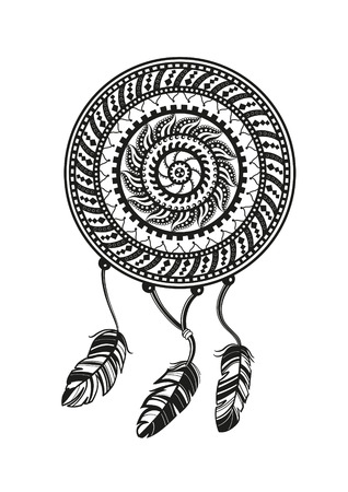 Round amulet with ethnic patterns. Ends with pendants in the form of feathers