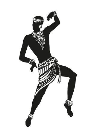 Hombre africano en el tradicional ritual de baile baile de disfraces