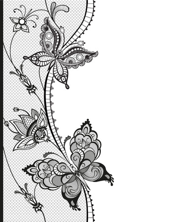 Abstract silhouettes of decorative butterflies. These butterflies and flowers are reminiscent of lace, they are created to decorate
