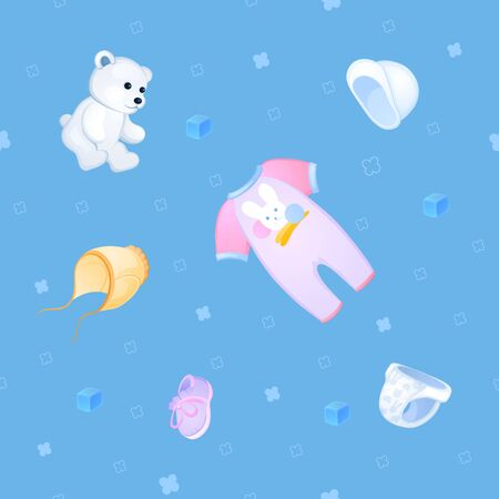 rompers: Background of things and toys for the little baby